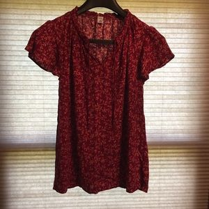 Old Navy maroon floral blouse